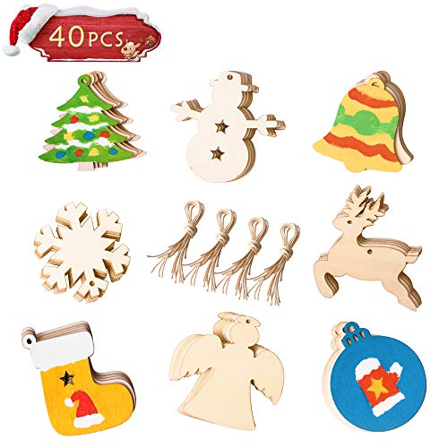 Wooden Christmas DIY Ornaments,Unfinished Wood Pieces Slices Scrafts for Kids, Christmas Tree Craft Supplies 40Pcs 3.5