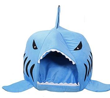 Magiböes Dibujos Animados de cálidos de Suave para Perros Mascotas Perros Gatos Tiburón Especialmente diseñados Mascotas Casa Cama de iglú hundetasche ...