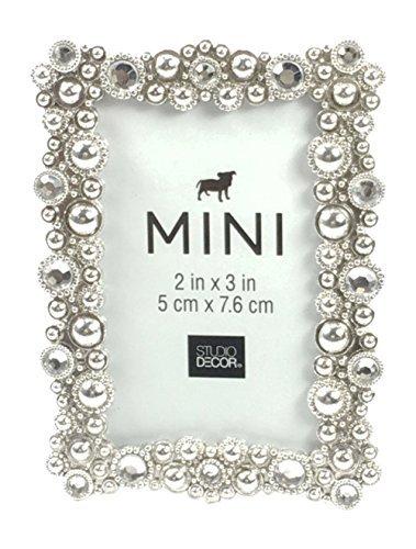 - Studio Decor Bejeweled Silver Tone Metal Mini Picture Frame 2 X 3