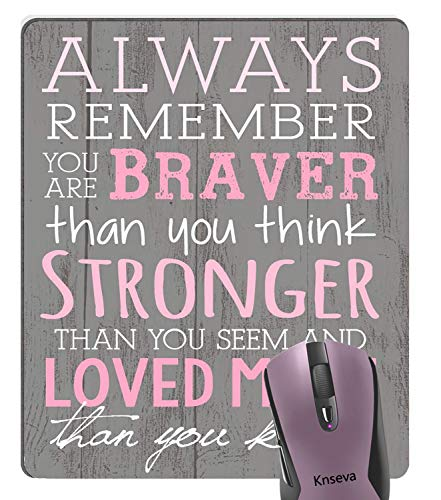Knseva Positive Inspirational Quotes Mouse Pad, Always Remember You are Braver Breast Cancer Awareness Rustic Grey Wood Mouse Pads