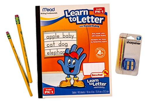 Preschool/Kindergarten Writing Readiness Activity Kit - Bundle of 3 Items: 1 Raised Line Writing Pad, Set of Two Pencils, 1 Pencil Sharpener ()