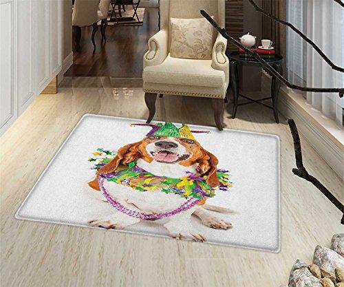 Mardi Gras Anti-Skid Area Rug Happy Smiling Basset Hound Dog Wearing a Jester Hat Neck Garland Bead Necklace Floor Mat Pattern 24