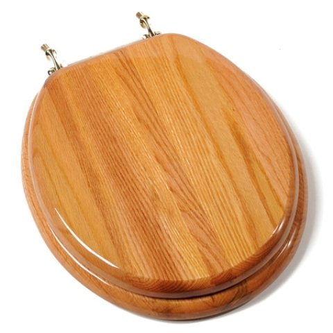 Comfort Seats C1B1R-17BR Designer Solid Wood Round Toilet Seat with Anti-microbial and Brass Hinges, Oak by Comfort Seats