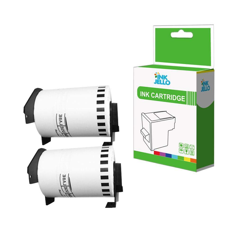 Nero su Bianco, 5-Pack InkJello Compatibile Rotoli Etichette Sostituisci per Brother QL-810W QL-820NWB QL-580N QL-800 QL-1050 QL-1050N QL-1060N QL-500 QL-550 QL-570 QL-700 QL-710W DK-11201