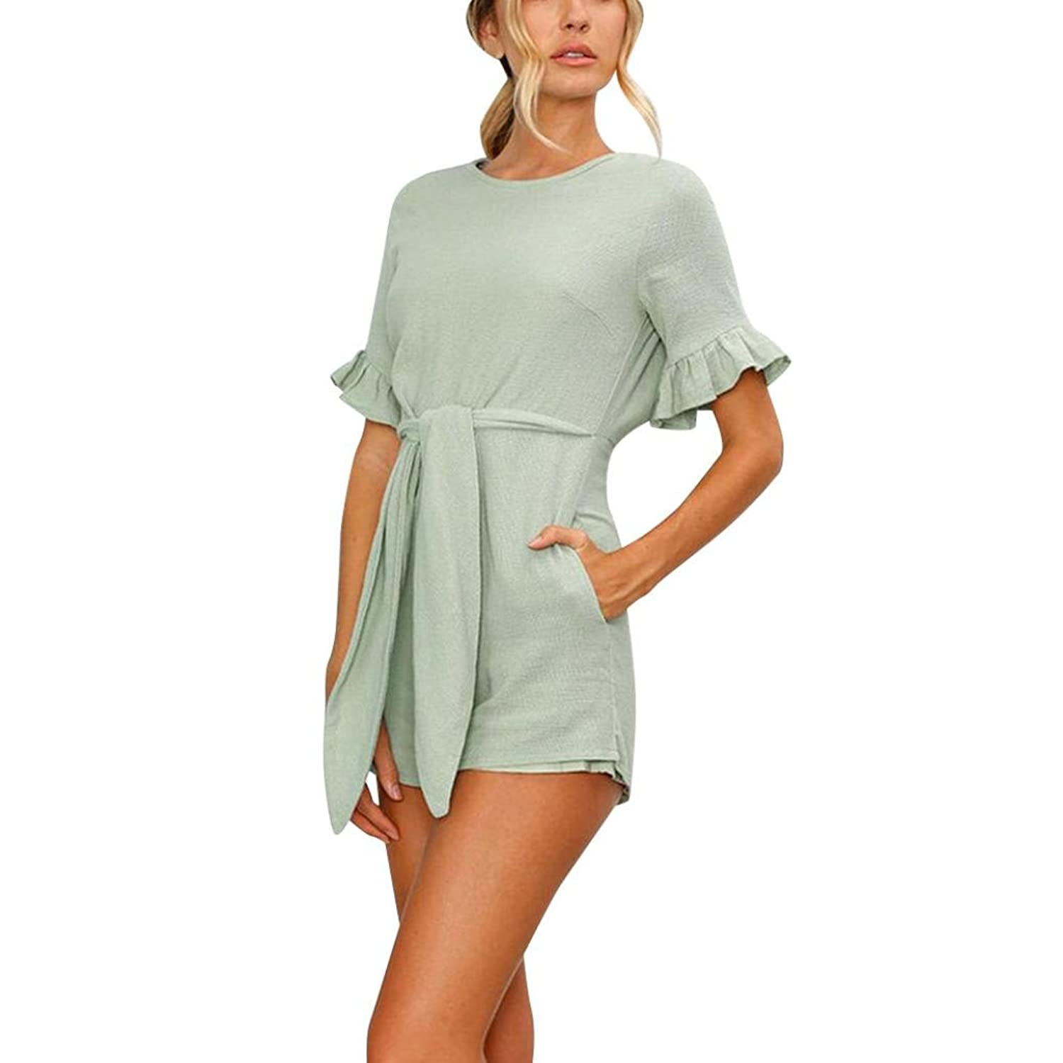 8accc44429a Amazon.com  RAISINGTOP Womens Romper Outfits Sexy Solid Short Pants Summer  Casual Night Club Jumpsuit with Sleeves Elegant New  Clothing