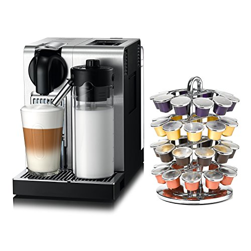 DeLonghi Nespresso Lattissima Pro Stainless Steel Capsule Espresso and Cappuccino Machine with Bonus 40 Capsule Carousel