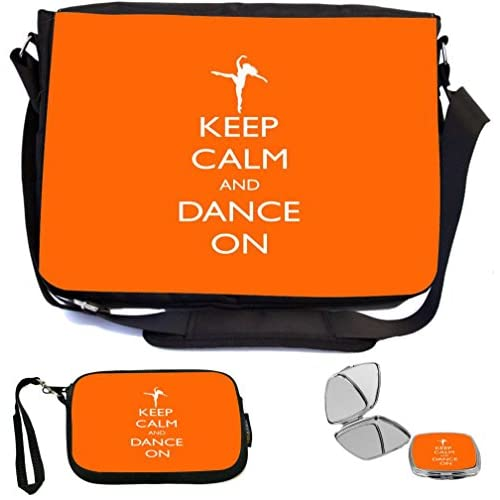 Rikki Knight Keep Calm and Dance On Orange Color Design COMBO Multifunction Messenger Laptop Bag - with padded insert for School or Work - includes Wristlet & Mirror