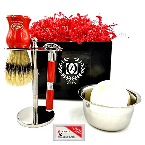 Shaving Set Men Shaving kit Vintage Style Classic Shaving Set Butterfly Safety Razor Dorco Blades double edge razor Shaving Bowl Omega STAND FOR SHAVING BRUSH AND RAZOR Great GIFT Idea