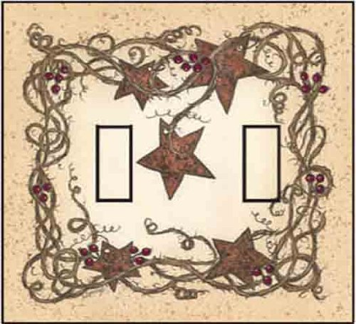 Rustic Switchplate Covers - SwitchStix Rusty Stars Double Toggle Peel and Stick Switch Plate Cover Décor