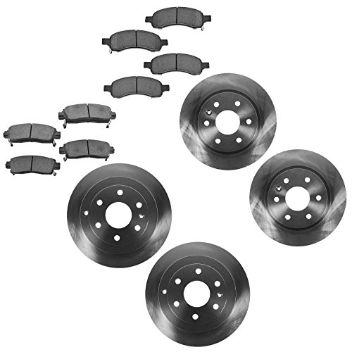Chevy Rear Rotors (Brake Rotor & Premium Posi Ceramic Pad Front & Rear Kit for Buick Enclave Chevy Traverse GMC Acadia Saturn Outlook)