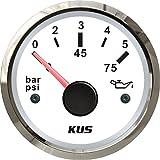 """Kus Oil Fuel Pressure Gauge Meter 0-5Bar 0-75PSI with Backlight 12V/24V 52MM(2"""")"""
