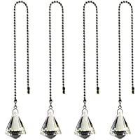 Hyamass 4pcs Crystal Ball Prisms Pendant Ceiling Fan Pull Chain Extender with Ball Chain Connector (Cone)