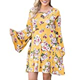 Overmal Womens Flower Printing O-Neck Flare Sleeve Mini Dress