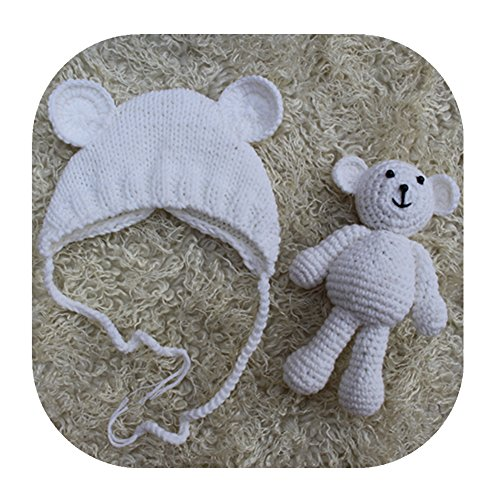 Pinbo Newborn Baby Photography Prop Bear Hat Beanie with Bear Dolls Accessories (White)