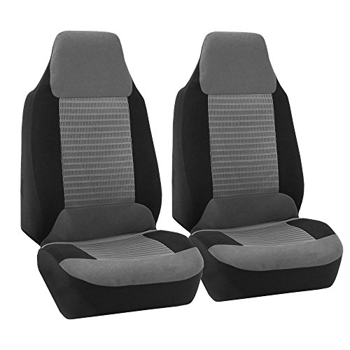 FH GROUP FH-FB107102 Trendy Corduroy Bucket Seat Covers, Airbag compatible, Gray / Black color Corduroy Accents