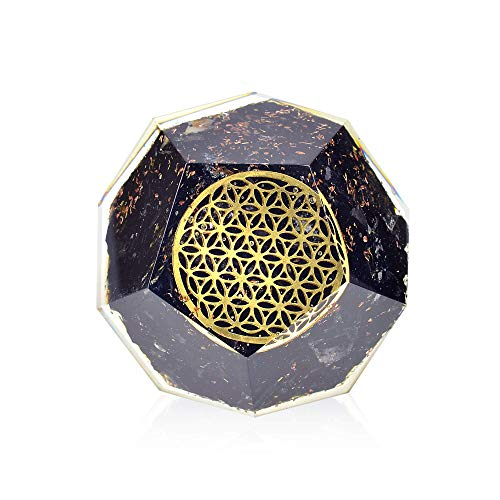- Orgonite Crystal - Black Tourmaline Emf Protection Orgone energy Generator- Flower of Life Orgonite Dodecahedron Healing Crystal for - Mood Swing Boost Immune System Chakra Balance