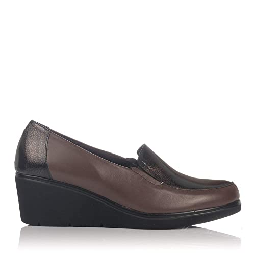 PITILLOS 5231 Zapato Mocasin Piel CUÑA Mujer Marron 39: Amazon.es: Zapatos y complementos