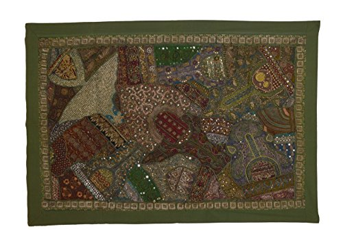 (KDHS Vintage Indian Tapestry Beaded Wall Hanging Sari Sofa Throw Size 40 x 60 inches)