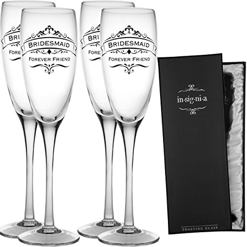 Enesco Set of 4 Wedding Champagne Flute Toasting 11oz Glass Set Pack For Bridesmaids Groomsmen