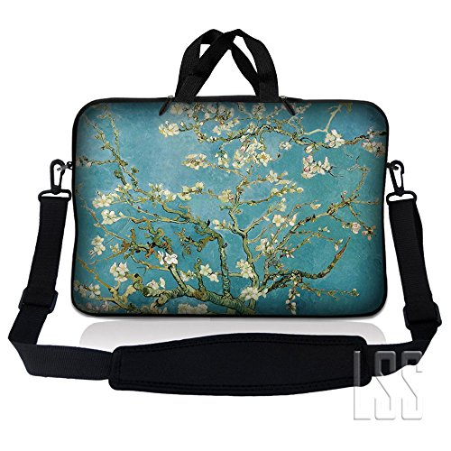 LSS 17-17.3 Laptop Sleeve Bag Compatible with Acer, Asus, Dell, HP, Sony, MacBook and more | Carrying Case Pouch w/Handle & Adjustable Shoulder Strap,Almond Trees