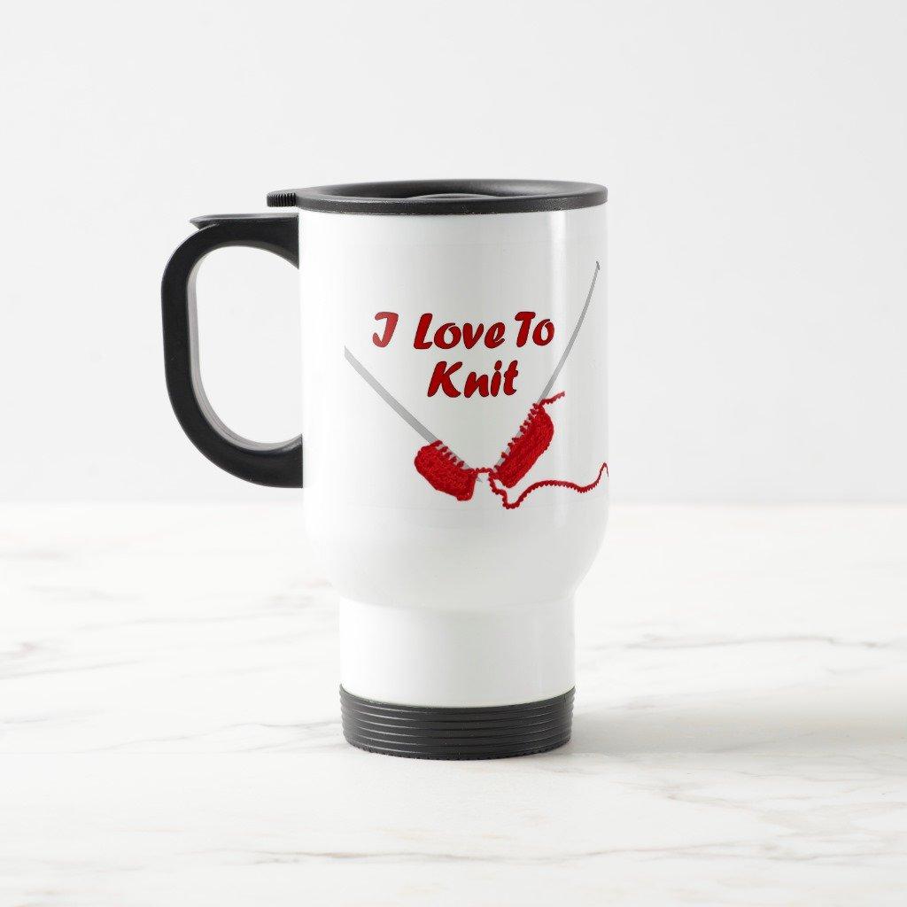Amazon.com: Zazzle I Love To Knit Mug, White Travel/Commuter Mug 15 oz: Kitchen & Dining