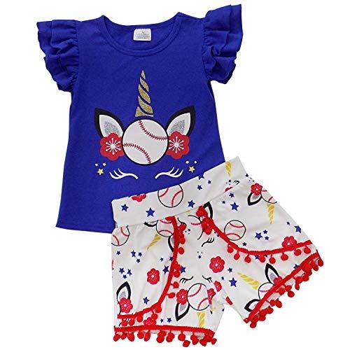So Sydney Girls Toddler Baseball Summer Dress, Capri Outfit, Baby Bubble Romper (S (3T), Unicorn Baseball Pom Shorts)