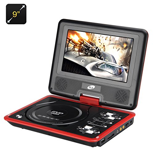 9 Inch Region Free Portable DVD Player - 270 Swivel Screen, 1280x800 Resolution, Hitachi Lens, SD Card slot by TAK