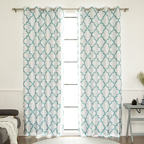 Best Home Fashion Reverse Moroccan Faux Silk Blackout Curtain - Stainless Steel Nickel Grommet Top - Sky Blue - 52