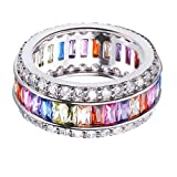 MING HUANG 925 Sterling Silver Created Multiple Gems Ring for Women Best Gift (8)