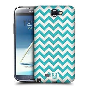 AIYAYA Samsung Case Designs Cyan Chevron Pattern Protective Snap-on Hard Back Case Cover for Samsung Galaxy Note 2 II N7100