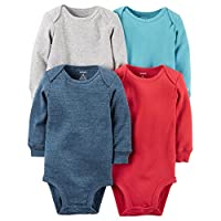 """Carter's Baby Boys' """"All Stripe"""" 4-Pack L/S Bodysuits - red/multi, 6 months"""