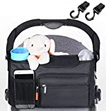 STROLLER ORGANIZER with 2 EXTRA HOOKS Fits All Strollers Baby Diapers Bag with Deep Cup Holder and Long Shoulder Strap Extra-Large Storage Space for Phones, Wallets, Diapers, Toys, Books, ipads