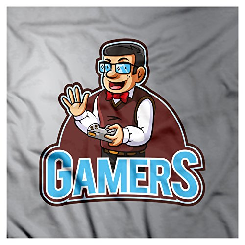 Gamer Bandana by Lunarable, Nerdy Guy Figure with Bow Tie Glasses and Vest Holding a Console Videogame Controller, Printed Unisex Bandana Head and Neck Tie Scarf Headband, 22 X 22 - Glasses Nerdy Guy