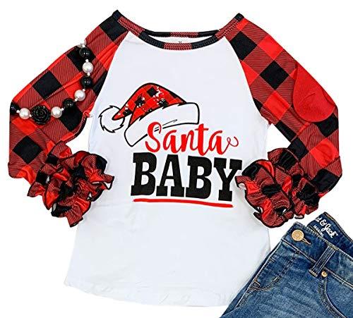 BluNight Collection Little Girls Kids Christmas Holiday Party Raglan Ruffle Shirt Top Tee T-Shirt