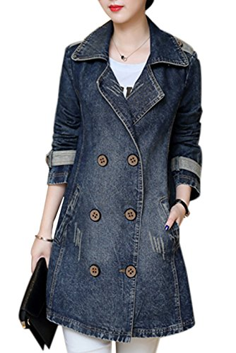 Gihuo Women's Casual Lapel Mid-Long Loose Denim Jacket Double Breasted Trench Coat (X-Large, Dark Blue) - Loose Vintage Jeans