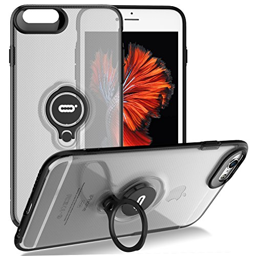 (iPhone 6s / 6 Crystal Case with Ring Holder Kickstand Function, 360 Degree Rotating Ring Holder Grip Case Ultra Slim Thin Hard Cover for iPhone 6s / 6 (4.7 inches) (Clear))