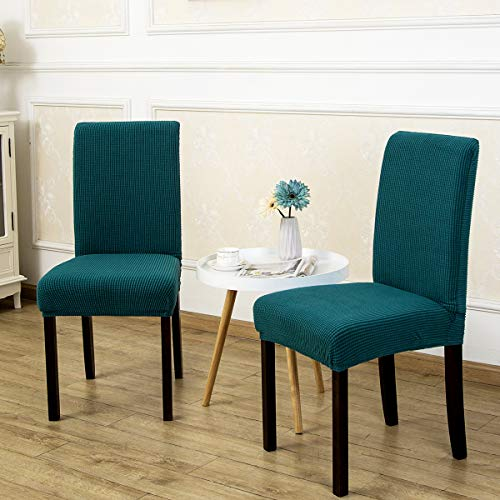 4 Pack Armless Chair Slip Covers for Dining Room Kitchen Slipcovers Soft Jacquard Home Decor Dark Cyan