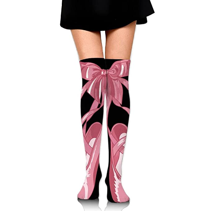 79233aaad26 Image Unavailable. Image not available for. Color  Women s Long Socks Pink  Girl Ballet Slippers Long Over Knee High ...