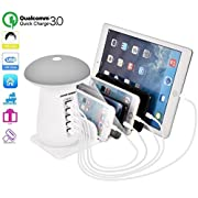 #LightningDeal 88% claimed: USB Charger Station Multi Device 3 in 1 Quick3.0 Charging Organizer LED Light 5 Port for iPhone X 8 7 6,Plus,iPad,Samsung,HuaWei etc USB Port Charger Hub Stand Charging Docking Station
