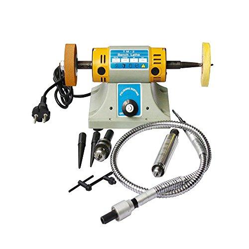 TM-2 Gem Jewelry Rock Polishing Buffer Machine Bench Lathe Polisher 110V 350W (Cutting Speed Lathe)
