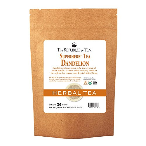 The Republic Of Tea Organic Dandelion Superherb Herbal Tea, Caffeine-Free, Non-GMO Verified, 36 Tea Bag Tin by The Republic of Tea