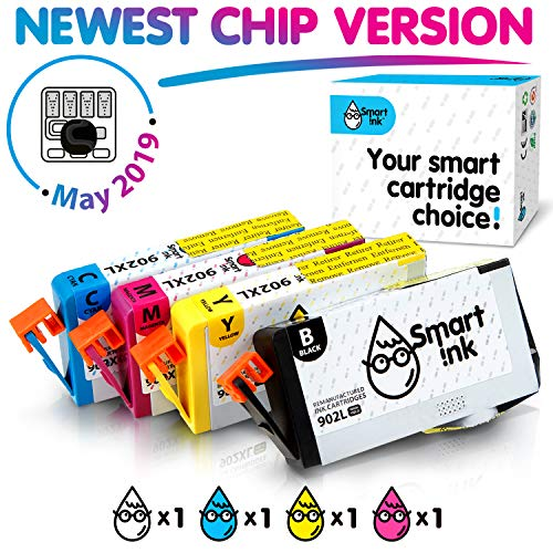 Smart Ink Re-Manufactured Ink Cartridge Replacement for HP 902 XL 902XL (Black L & C/M/Y XL, 4 Pack Combo) to use with Officejet 6951 6954 6956 6958 6962 6950 Officejet Pro 6968 6974 6975 6978 6960