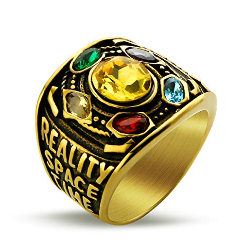 Valily Marvel Avengers Thanos Rings Gold Infinite Power Gauntlet Crystal Ring for Men Stainless Steel Infinity War Men Keyring (Gold, 7)]()