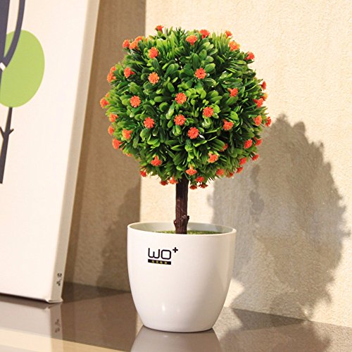 Orange Artificial Flowers Rose Grass Trees Plants Potted Plants Ceramic Vase Garden Decor - XHOPOS (Potted Rose Topiary)