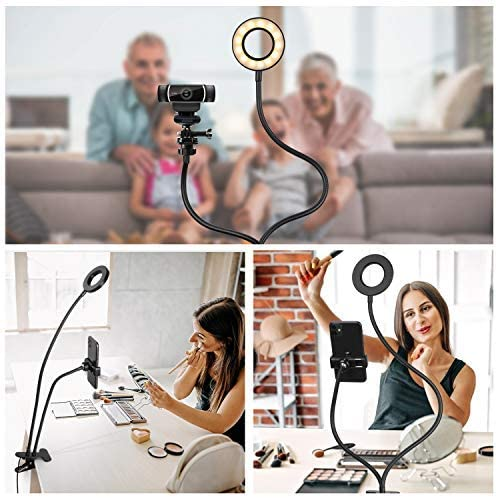 Amada Webcam Light Stand for Live Stream, Selfie Ring Light with Webcam Mount for Logitech C925e, C922x, C930e,C922,C930,C920,C615,Brio 4K