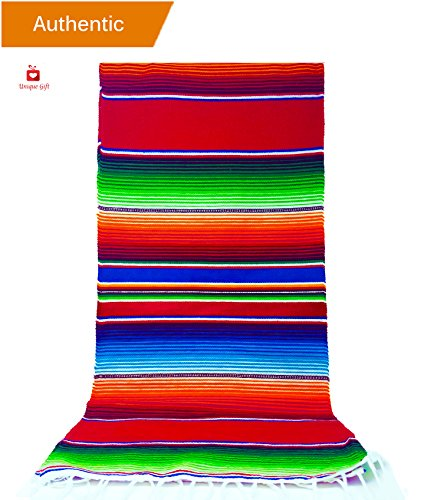 New | Alondra's Imports®️ (84'' x 15'') Elegantly Handwoven, Genuine Serape Table Runner (Mexican Table Runner, Fiesta Table Runner, Mexican Blanket, Zarape, Serape) (Lustrous Ruby Red) by Alondra's Imports️