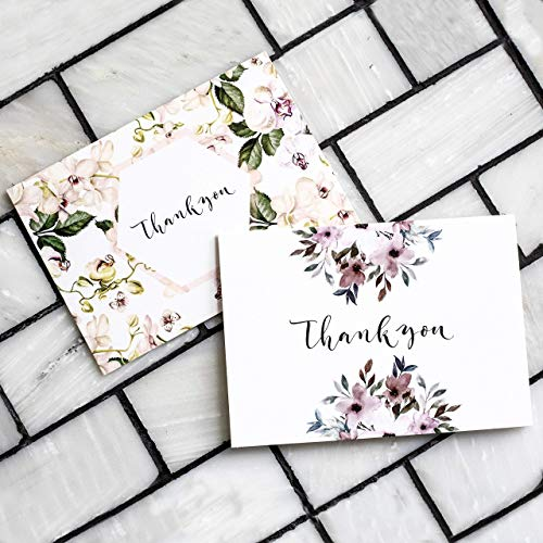 Thank You Cards: Vintage Floral Bulk Set of Blank Note Cards for Wedding, Bridal or Baby Shower, Teacher, Birthday Card, Business Notes and More - Assorted Pack with Envelopes and ()