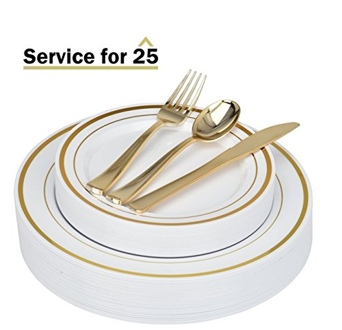 Stock Your Home Elegant 125 Piece Gold Rim Plastic Place Setting Set with Gold Silverware - Solid, Disposable & Heavy-duty Includes: 25 Dinner Plates, 25 Dessert Plates, 25 Forks, 25 Knives, 25 Spoons