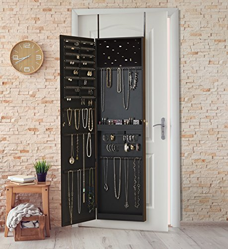 Amazon.com: Plaza Astoria PA66BK Wall Mounted Over The Door Super Sized  Jewelry Armoire Storage Cabinet, Black: Home U0026 Kitchen
