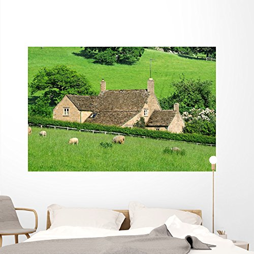 Wallmonkeys Farmhouse English Countryside Cotswolds Wall Mural Peel and Stick Graphic (72 in W x 48 in H) WM363878